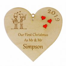 Personalised First Christmas as Mr and Mr Hanging Heart Bauble Red Acrylic Heart